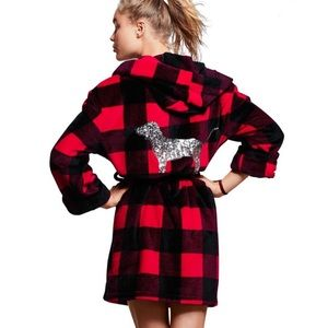 Pink Victoria Secret Red Black Buffalo Plaid Robe